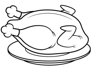 Vector illustration of roast chicken