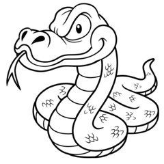 Vector Illustration of Cartoon Snake - Coloring book