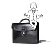illustration of zen businessman sitting on briefcase