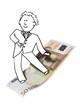 illustration of happy businessman surfing on dynamic Euro bill