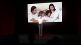 Animation of businesswoman presenting a family montage