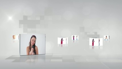 Video with screens showing women dancing and singing