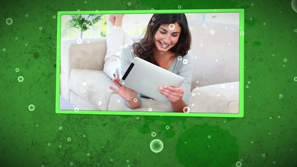 Video of smiling women using tablet