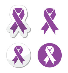 Purple ribbon - pancreatic cancer, testicular cancer symbol