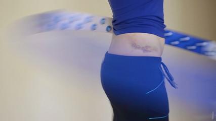 woman sport wear spin hula hoop fitness tool waist bruise hip