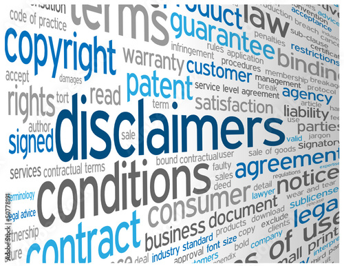 """""""DISCLAIMERS"""" Tag Cloud (terms and conditions legal info button)"""
