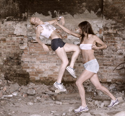 Street fight. conflict between young girls