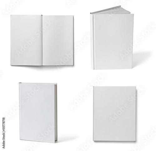 Leinwanddruck Bild book notebook textbook white blank paper template