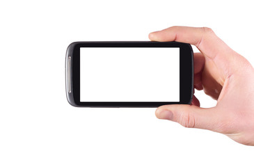hand holding blank mobile smartphone with clipping path for the