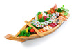 Collection of species sushi on the decorative plate ship. On a w