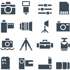 Set vector icons photo accessories.