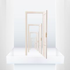 Infinite doors on a shelve. Vector design.