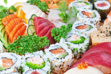 Group of luxury foods, sushi caviar, salmon close up.