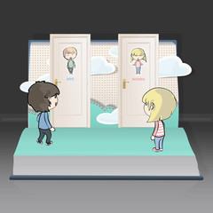 Toilet doors with kids on a book. Vector illustration.