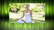 Montage of blonde woman doing yoga in the park