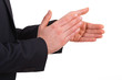Businessman clapping his hands.