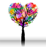 romantic tree with colorful heart shape