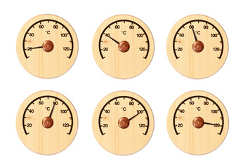 Set from six wooden thermometers for a sauna