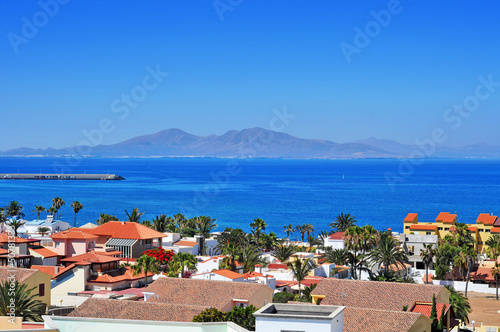 Leinwanddruck Bild Lobos Island from Corralejo in Fuerteventura, Canary Islands, Sp