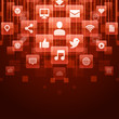 Social media icons and light vector background
