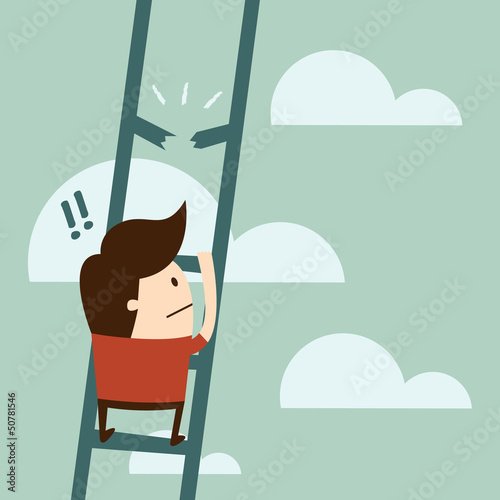 boy climbing up a ladder.