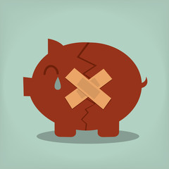 Piggy bank with plasters concept for financial crisis or economi