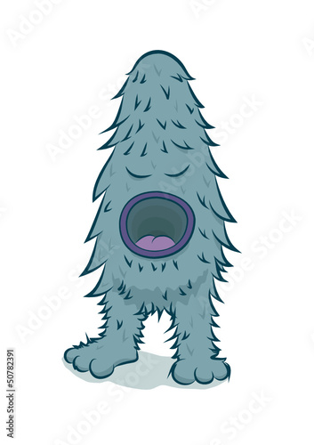 Vector furry blue monster