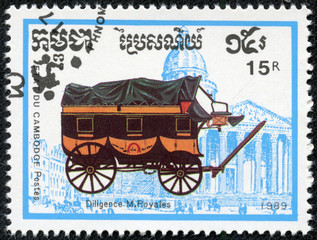 stamp printed in Cambodia shows Horse-drawn, diligence m.royales