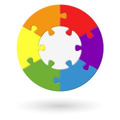 Puzzle rund - Basis mit 6 Optionen