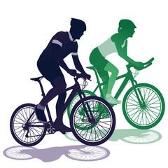 ein Paar beim Fahrradfahren