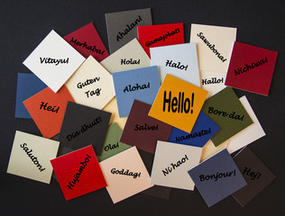 Hello, Bonjour, Nichiwa! Hello in different languages - Sign