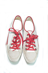white shoes on white background