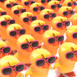 Easter chicks marching in pink sunglasses
