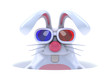White rabbit is in his hole watching a 3d movie