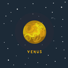 VENUS space view vector illustration
