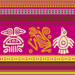 ornamental pattern in the Indian style-monkey and birds