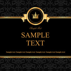 Vintage black damask background with frame of golden elements