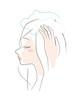 シャンプーする女性の横顔