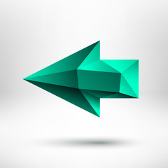 3d green left arrow sign with light background