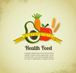 Health food and diet background with measure tape