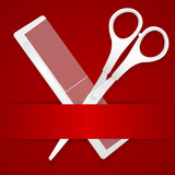 Scissors and comb - advertising barbershop - on a red background poster