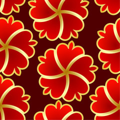 Abstract seamless texture with red gold flower