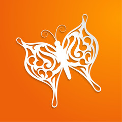 Abstract orange background with a paper butterfly