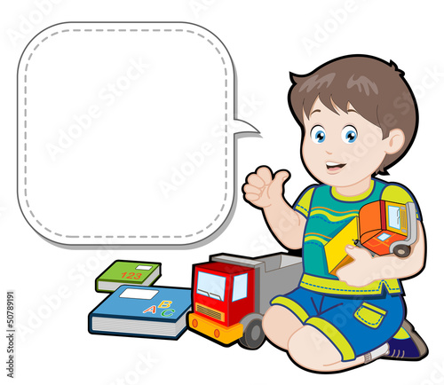 Cartoon little boy playing with toy trucks