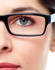 Woman eye  with eyeglasses.