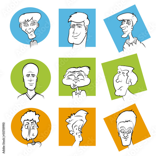 Set of Various Cartoon Character Faces/Vector Face Image Series