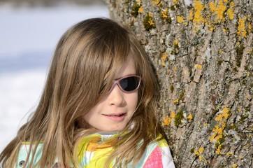 portrait fille, 7 ans , hiver