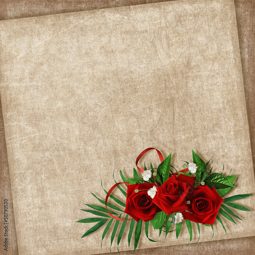 Vintage card for the holiday with flower on the abstract backgro
