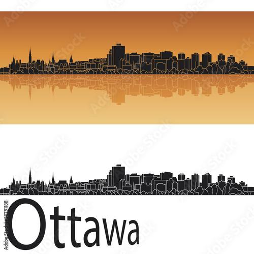 Ottawa skyline in orange background