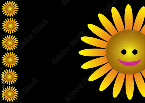 The smiling sunflower illustrated on the black background